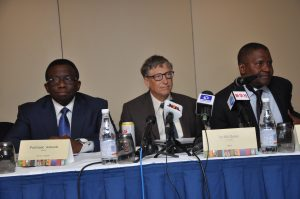 L-R, Honourable Minister for Health, Bill Gates and Dangote at the siging ceremony
