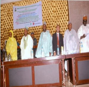 L-R: HE, wife of the Executive Governor of Kebbi state Dr Zainab Bagudu, HE, the Executive Governor of Kebbi State, Senator A. Bagudu, P.S SMOH, Dr Mohammed Atiku Kende and others